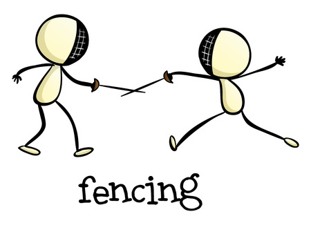 fencing: Illustration of a fencing activity on a white background