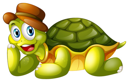 Illustration of a smiling turtle lying down on a white background Vector