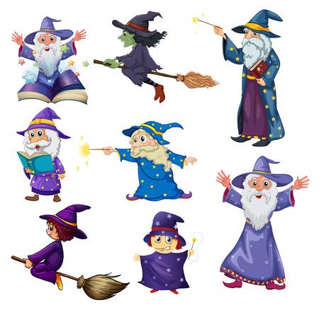 Illustratie van een groep tovenaars op een witte achtergrond Vector Illustratie