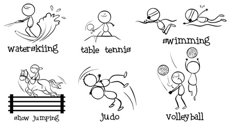 Illustration of the cartoonized men engaging in different sports on a white background Vector