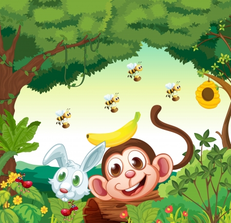 Illustration of a forest with happy animals Vector