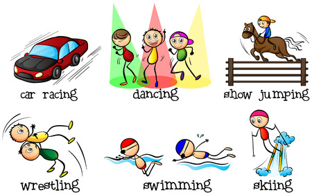 Illustration of the different physical activities on a white background Vector