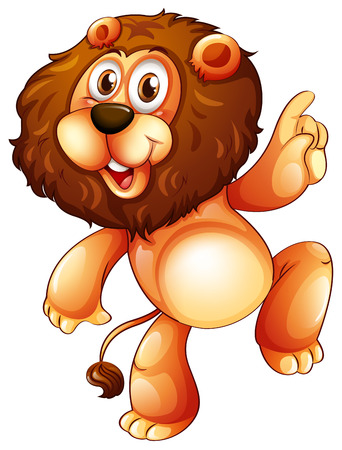 lion king: Illustration of a young playful lion on a white background