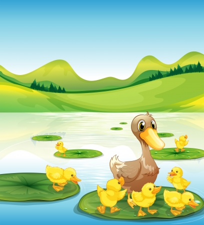 Illustration of a duck and her ducklings at the pond