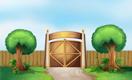 gated: Illustration of a gated park Illustration