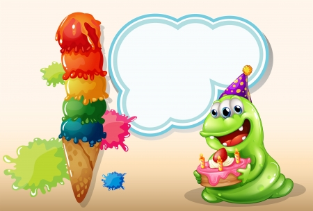 cone cake cone: Illustration of a happy monster holding a cake near the big icecream Illustration
