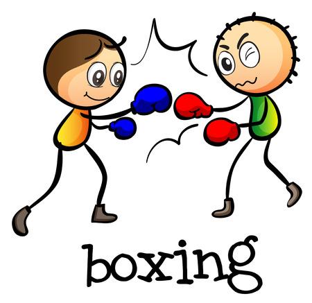 stickmen: Illustration of the two stickmen boxing on a white background