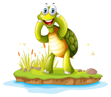 Illustration of a smiling turtle in an island on a white background Illustration
