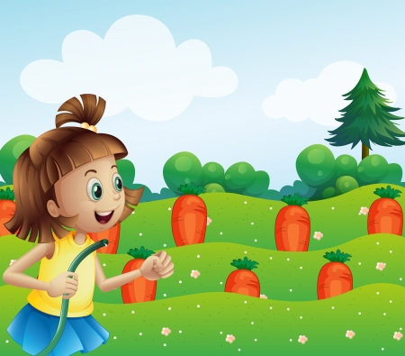 Illustration of a happy girl watering the carrots in the farm