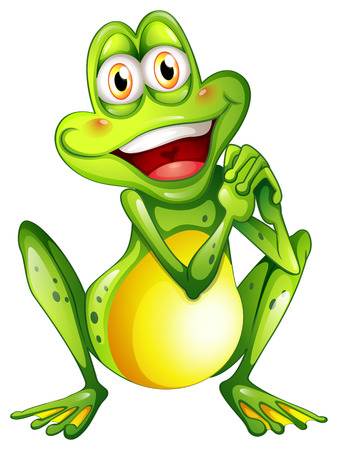 play poison: Illustration of a cheerful green frog on a white background