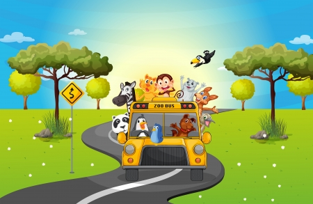 roadtrip: Illustration of a zoo bus travelling loaded with animals Illustration