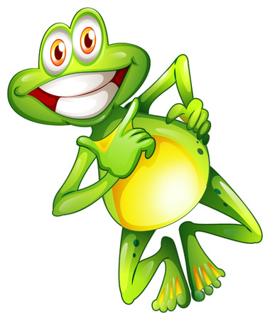 Illustration of a very smiling frog on a white background Illustration