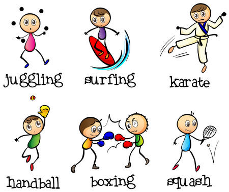 Illustration of the six different sports on a white background Vector