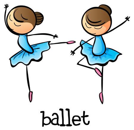 girl illustration: Ilustraci�n de los bailarines de ballet sobre un fondo blanco