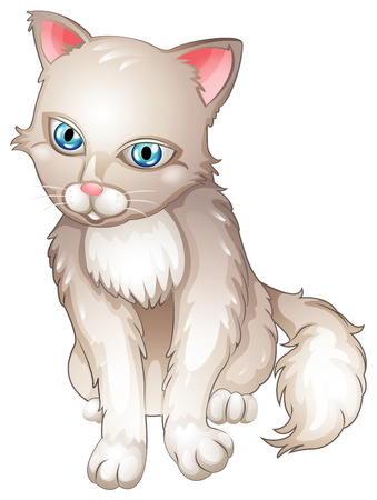 housepet: Illustration of a sad cat on a white background