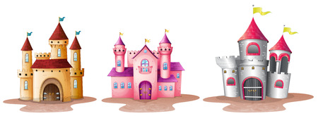 Illustration of the three different castles on a white background Vector
