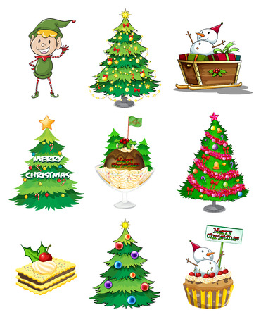 young tree: Illustration of a Santa elf with the other christmas decorations on a white background Illustration