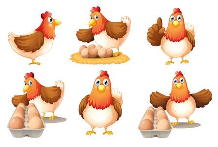 白い背景の上の六つの鶏のイラスト