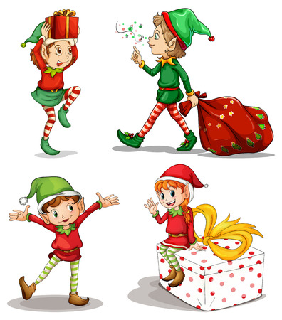 christmas elf: Illustration of the four dwarves on a white background