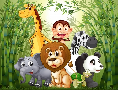 animales del bosque: Ilustración de un bosque de bambú con muchos animales