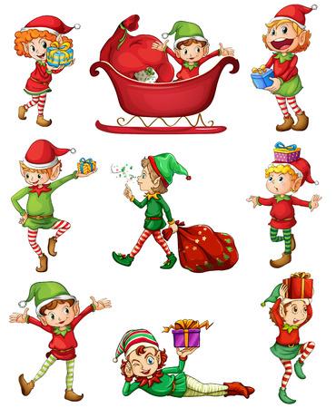 Illustrazione dei giocosi elfi Babbo Natale su uno sfondo bianco Vettoriali