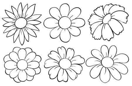 doodle art clipart: Illustration of the flowers in doodle design on a white background