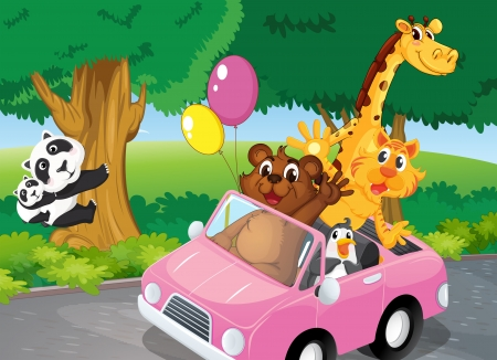Illustration of the bears climbing and a pink car full of animals Illustration