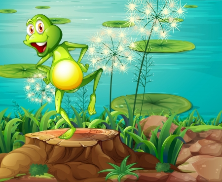Illustration of a frog above the stump at the riverside Vector