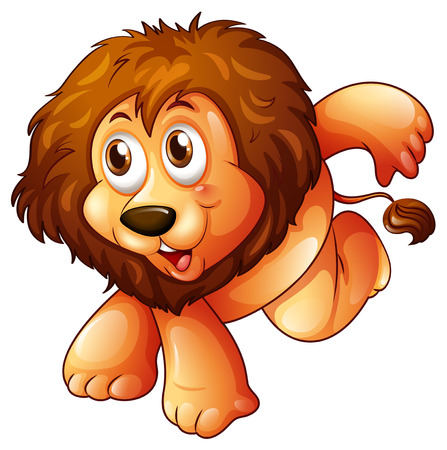 carnivorous: Illustration of a lion in a jumping position on a white background Illustration