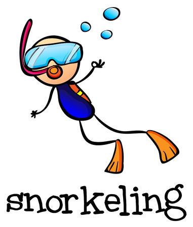 bonhomme allumette: Illustration d'une plongée en apnée stickman sur un fond blanc