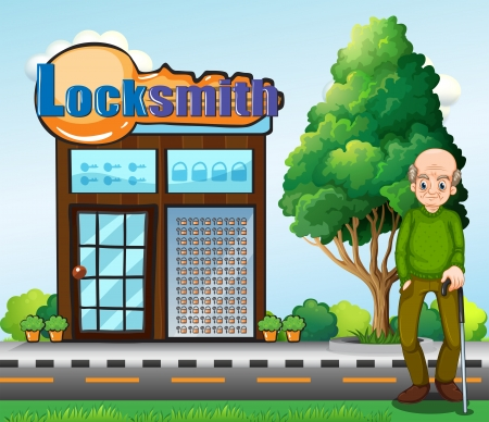 Illustration of an old man standing in front of the locksmith building Vector