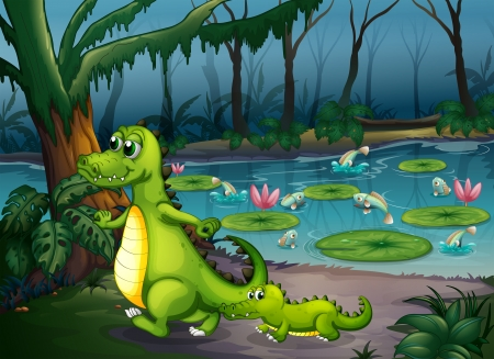 lilypad: Illustration of a forest with a pond, crocodiles and fishes