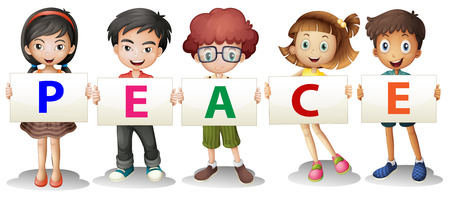Illustration of the kids holding the PEACE letters on a white background Vector