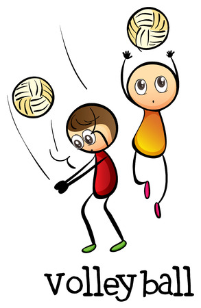 stickmen: Illustration of the stickmen playing volleyballs on a white background