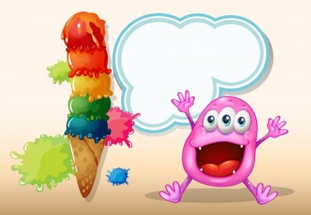 Illustration of a cheerful beanie monster near the icecream Vector