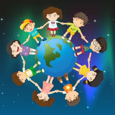 Illustration of the kids around the globe Vector