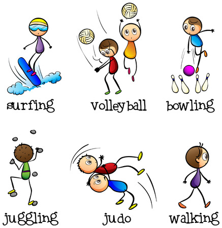 surf team: Illustration of the six different activities on a white background
