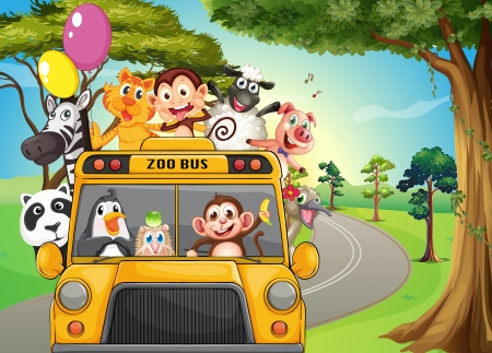 Illustration of a bus full of zoo animals Vector