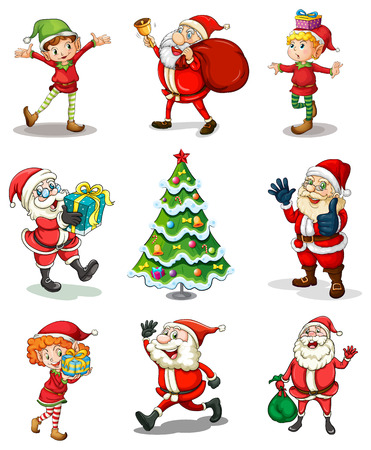 dwarf christmas: Illustration of the different christmas templates on a white background
