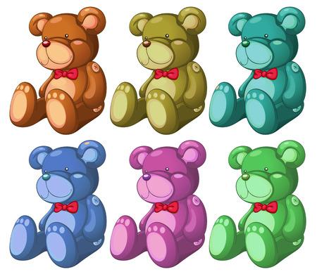 Ilustración de los seis osos en un fondo blanco