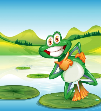 Illustration of a happy frog standing above the waterlily Stock Vector - 25030852