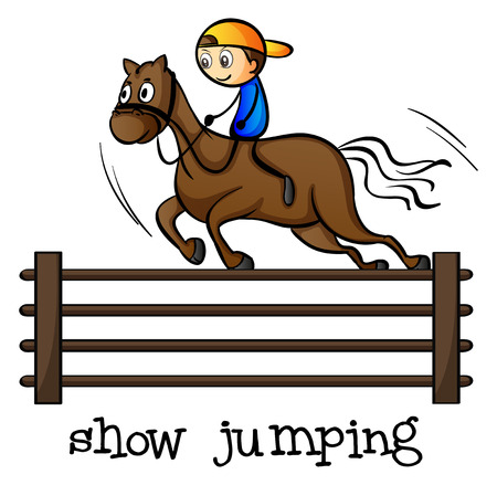 Illustration of a show jumping on a white background Vector