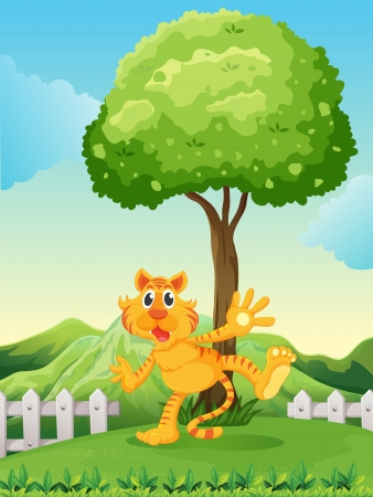 Illustration of a playful tiger under the tree at the hilltop Vector