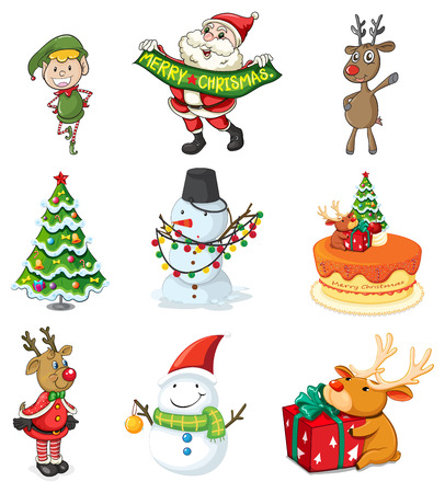 Illustration of the christmas designs on a white background Vector