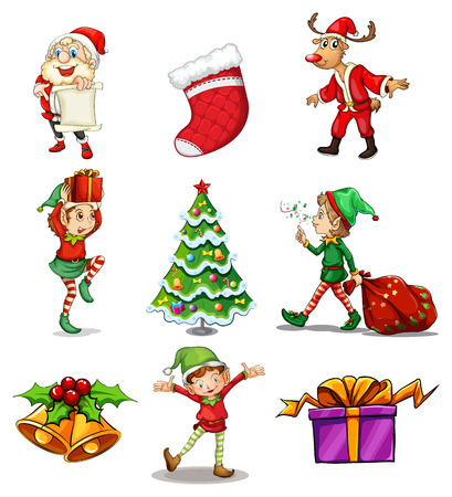 Illustration of the different christmas designs on a white background Vector