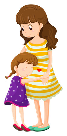 affectionate: Illustration of a daughter hugging her mother on a white background