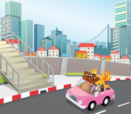 Illustration of a pink vehicle with animals running at the city Illustration