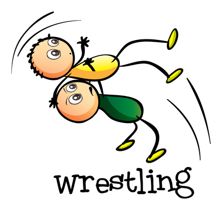 wrestling: Illustration of the two men wrestling on a white background