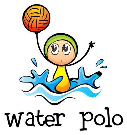 polo ball: Illustration of a stickman playing water polo on a white background Illustration