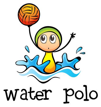water polo: Ilustración de un stickman waterpolo de juego sobre un fondo blanco
